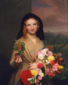 cromwel ingham, girl gifts, art, charl cromwel, flowers, flower girls, oil, canvases, 1846
