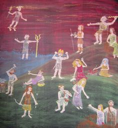 City of Lakes Waldorf School Chalkboard drawing from fifth grade classroom depicting Gods from Greek mythology.