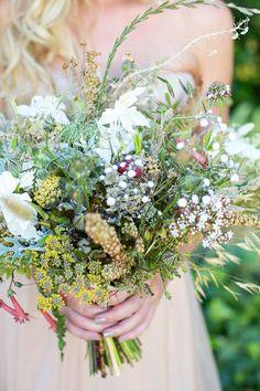 wildflower bouquet, photo by Adene Photography http://ruffledblog.com/botanical-stellenbosch-wedding #flowers #weddingbouquet