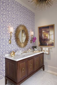 brass mirror and sconces