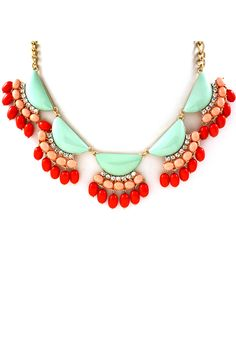 beaded necklaces, jewelry necklaces, statement necklaces, color combos, coral jewelry