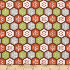 Woodland Christmas Snowflakes Brown from @fabricdotcom  From A.E. Nathan, this cotton print fabric is perfect for quilting, apparel and home decor accents. Colors include green, orange, grey, brown and cream.
