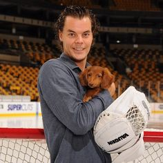 Boston Bruins Calendar-Tuukka Rask with Chewbacca the dachshund