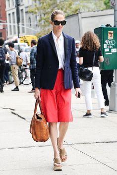 Red culottes + white button-down + navy blazer