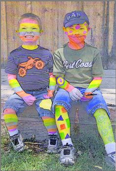 A bad case of stripes.  Black and white photo of children. Them let them color.
