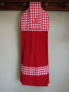 Red Gingham Hanging Kitchen Towel