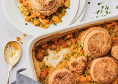 This hearty vegetarian dish is the lovechild of a pot pie and a stew topped with fluffy, buttery biscuits.