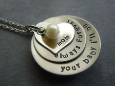 Personalized hand stamped stainless steel necklace.