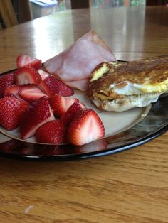 Strawberries and Breakfast Sandwich