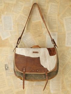 Free People Vintage Canvas and Leather Messenger Bag