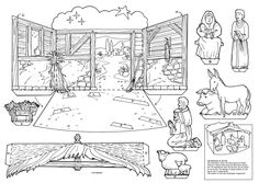 Links to printable paper Nativity scenes/ creches: print, cut out and fold, but leave it for the child to color with crayons or colored pencils, place all pieces in a nice envelope.