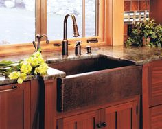 Stunning Camp Interior For Your Summer Holiday: Rustic Kitchen Design Brass Sink Faucet Adirondack Camp ~ wbtourism.com Home Interior Inspir...