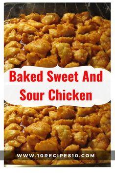 Baked Sweet and Sour Chicken - No need to order take-out anymore - this homemade version is so much healthier and a million times tastier... The chicken coating: 3-4 boneless chicken breasts salt + pepper 1 cup cornstarch 2 eggs, beaten 1/4 cup canola oil The sweet and sour sauce: 3/4 cup sugar 4 tbs ketchup 1/2 cup distilled white vinegar 1 tbs soy sauce 1 tsp garlic salt Instructions: Start by preheating your oven to 325 degrees. Rinse your chicken breasts in water and then cut into cubes. Sea
