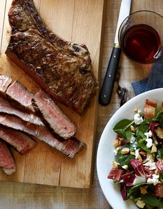 Grilled Ribeye With Spinach-Treviso Salad