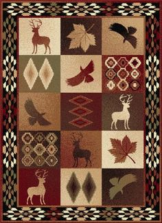Universal Rugs 776590 Nature Lodge Area Rug, 5-Feet 3-Inch by 7-Feet 3-Inch, Multi Color