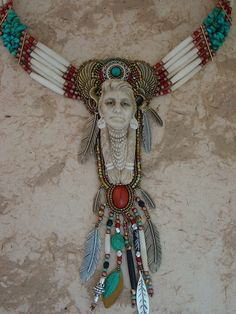 Native Spirit Necklace by Heidi Kummli  ~ Porcelain Nez Perce by Laura Mears