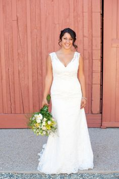 Real Bride Andrea in David's Bridal Collection All Over Beaded Lace Trumpet Gown Style T9612.  Photography by Candice Benjamin