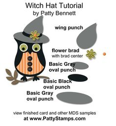 www.PattyStamps.com - My Digital Studio Halloween owl punch art