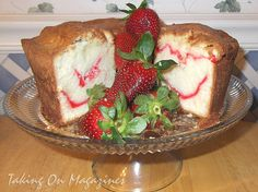 Strawberry Swirl Cream Cheese Pound Cake from Southern Living Magazine  1 1/2 cups butter, softened 3 cups sugar 1 (8-oz.) package crea...
