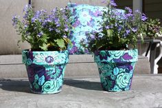 Flower pot craft using fabric and mod podge