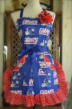 NY Giants Football Ruffled Polka Dot  Apron by OliviabyDesign, $28.95