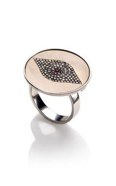 Titan Evil Eye Ring in 18K White Gold