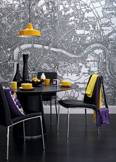 wallpaper map mural from Printed Space via Ideal Home (UK)! This is so cool! If the map was slightly muted it would look great for a feature wall! :}