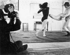 behind-the-scenes photos from the set of A Clockwork Orange, 1971.