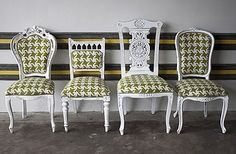 Don't like the fabric, but this is a fun idea - reupholster different thrift store chairs in the same fabric to make a set. #DIY #CRAFTS #THRIFTSTORE #HAWA