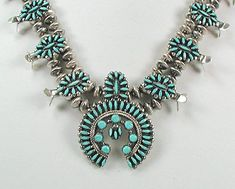 Native American Zuni Indian Needlepoint turquoise squash blossom necklace and earrings
