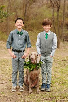 ring bearers and a puppy assistant :) http://saraandrocky.com/ - view more http://ruffledblog.com/st-patricks-day-wedding-ideas/