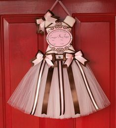 Newborn Hospital Door Hanger  Tutu Bow Holder - Brown and Pink - Pick Your Size on Etsy, $40.00