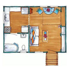 400 sq ft Small cottage home plan with sleeping loft and Murphy bed. Go to article/slide show to see pictures of interior.