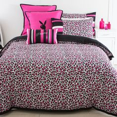 Playboy has come to Pillow Talk. The flirtatiously provocative brand has created 3 new designs. The Cheeky Leopard Quilt Cover Set showcases a pink leopard print design with black tailored boarder - #PillowTalkHome