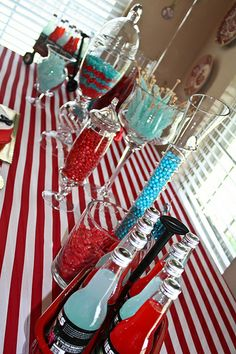 Red, white and aqua Candy Buffet   The birthday table featured a red and white striped tablecloth and red ...