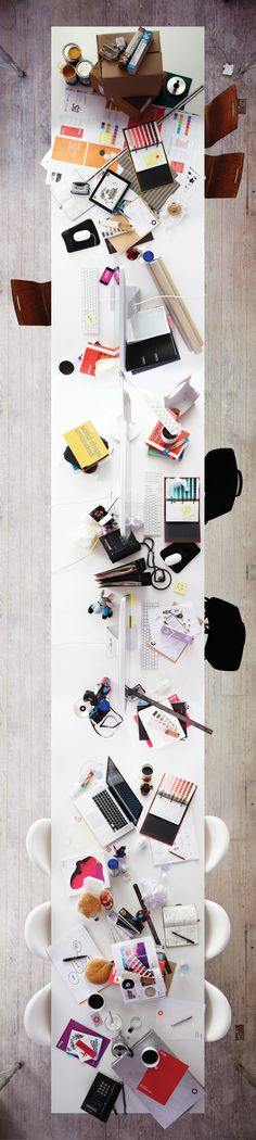 Oneighty Self-Promotion by Andy Bradshaw, via Behance desk space, office desks, work stations, dream, offices, craft tables, design studios, long tables, workspac