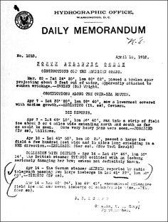 U.S. Navy daily memorandum reporting the Titanic's collision with an iceberg, April 15, 1912.