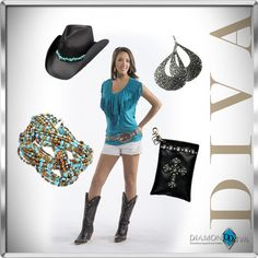 LOVE IT! Denim shorts, boots, cowgirl tops in Turquoise fringe and