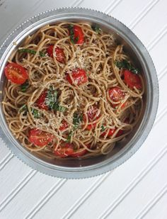 Light and Fresh Tomato Basil Pasta topped with Parmesan Cheese ~ perfect light pasta dish for summer!