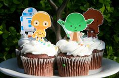The best roundup of Star Wars Party printables and ideas like these Kawaii cupcake toppers.