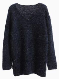 Navy V-Neck Fluffy Sweater