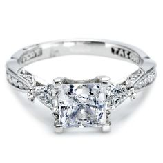 #Tacori Trillion-Cut #Diamond Engagement Ring in #Platinum