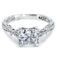#Tacori Trillion-Cut #Diamond Engagement Ring in #Platinum