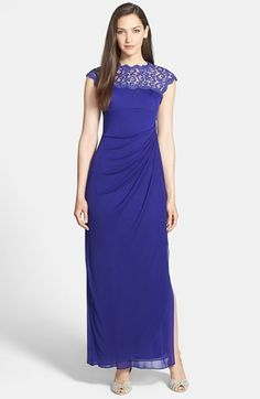 Alex Evenings Lace Yoke Faux Wrap Mesh Gown (Regular & Petite) available at #Nordstrom