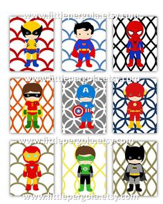 Nursery Wall Art Superhero  Art Prints 4x6 set of by LittlePergola, $45.00