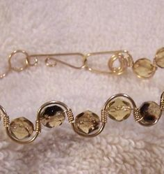 FREE S and Black Facetted Beads in Gold Wire Wrapped Bangle-A JewelryArtistry Original-BR53