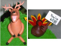 Fondant Deer & Turkey - MMF deer & turkey I made to put on my dad's bday cake.