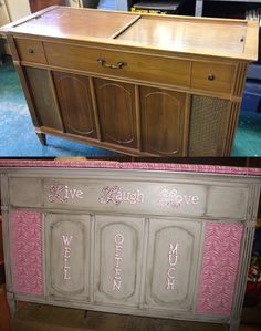 Before and after pics, repurposing a vintage stereo cabinet into a fun ...