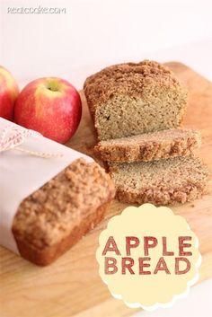 Apple Bread  Ingredients: 1/2 sour cream 2 c sugar  3/4 c applesauce  3 eggs 1 tsp cinnamon  2 tsp vanilla 1 tsp salt 1/2 tsp nutmeg  2 c shredded apples  5 c flour  1 tsp baking soda Grease.