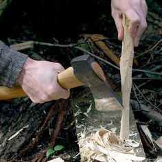 Making fire starter shavings with the Swedish Camp Axe at Lumberland.